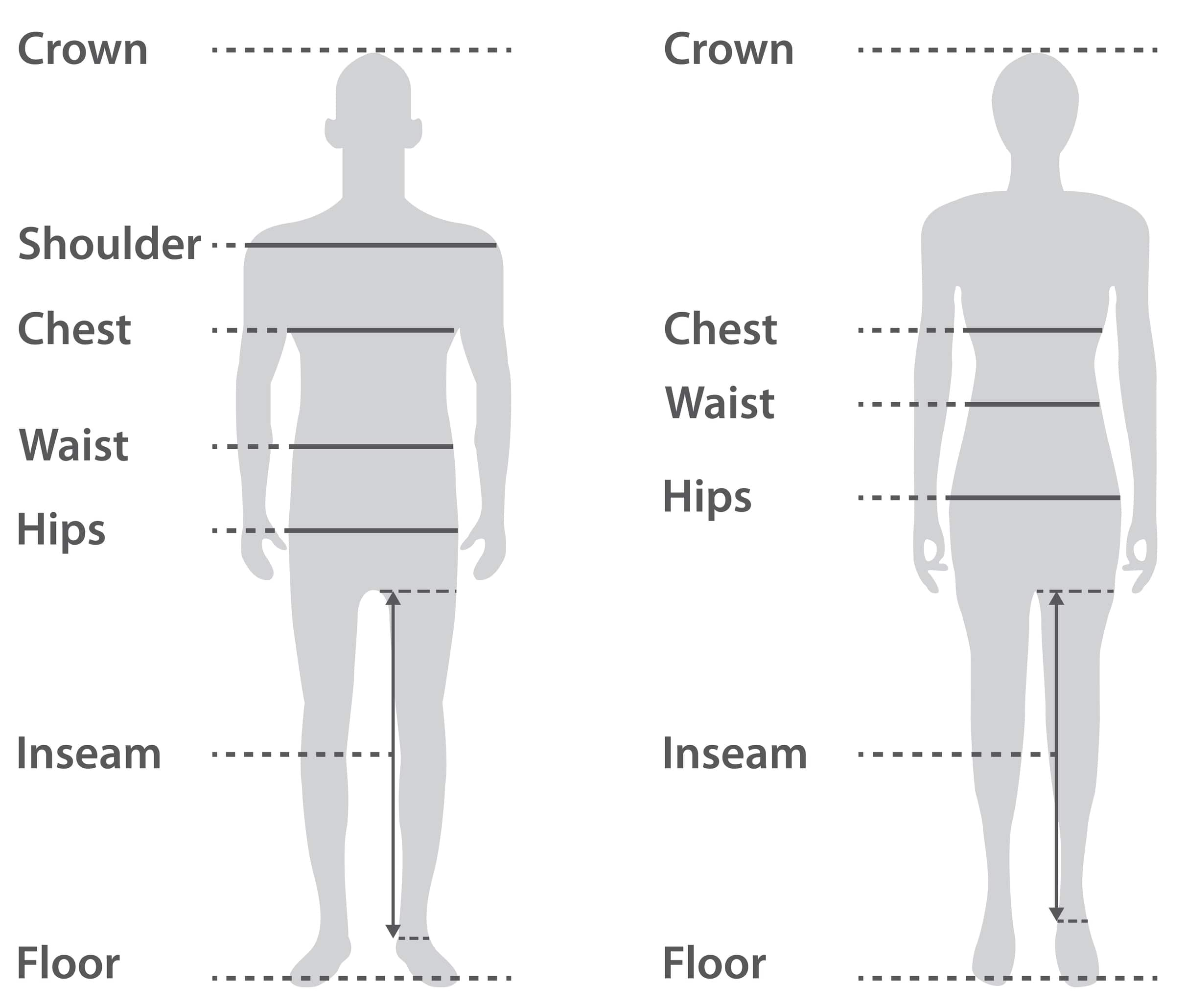 size chart of man and woman